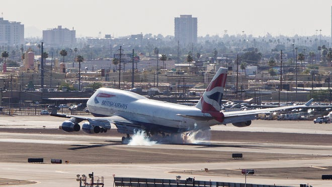 A British Airways 747-400 lands on Tuesday, June 28, 2016, at Sky Harbor International Airport in Phoenix. Friday, July 1, is the 20th anniversary of the non-stop, direct British Airways flight between London and Phoenix.