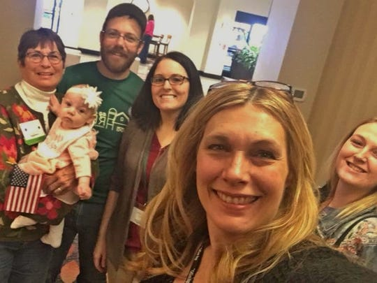Left: Louise Courter holding baby Lila Schaller, Matt & Jenna Schaller, Kimba Clunis, and Cheyenne McNeil. The Schallers started Ag Community Relief.