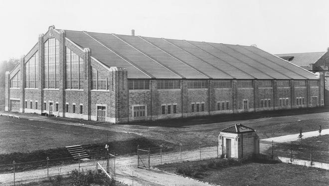 Wildermuth Fieldhouse in 1929. It served as the home of the men's basketball team from 1928–1960. It is now known as the Wildermuth Intramural Center.