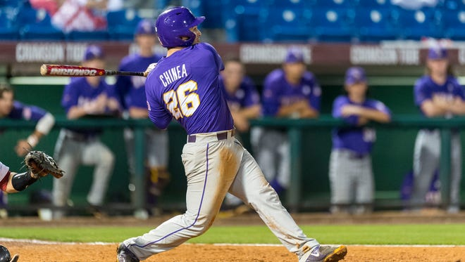 LSU's Chris Chinea hit his sixth home run of the season in a win over Tulane Tuesday night, just three days after being hit in the face with a pitch.