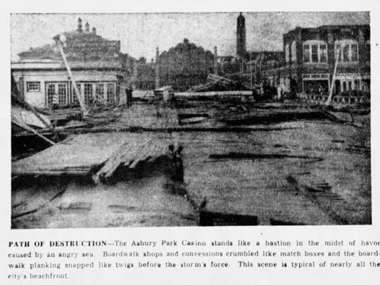A photo published in the Asbury Park Press on Sept 15, 1944, showing the damage to the boardwalk from a devastating hurricane the night before.