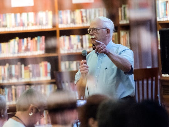 Panalist Dr. Kenneth Woerthwein, of York NAACP and City of York Human Relations Commission, speaks to the audience, Wednesday, May 30, 2018. Panelists engaged with audience members regarding the 50th anniversary of the race riots, the charrette and the aftermath in York at Martin Memorial Library, presented by the York Daily Record.