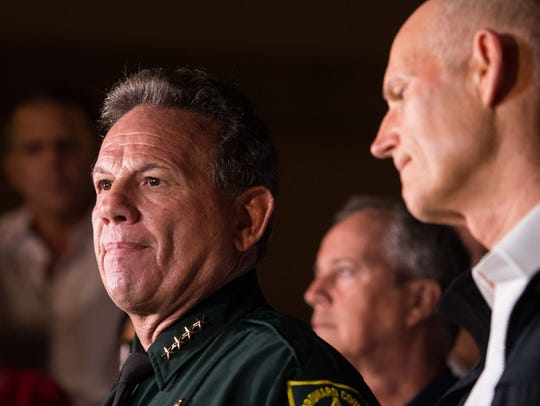 Broward County Sheriff Scott Israel speak at a news