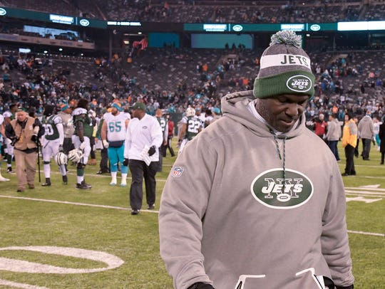 New York Jets head coach Todd Bowles walks off the