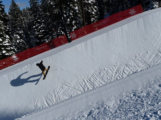 A rider utilizes the Snow Park Technologies designed half pipe at Northstar California ski resort in Truckee on Jan. 8, 2016.