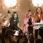 "Stefanie Scott, Aubrey Peeples, Hayley Kiyoko and Aurora Perrineau in ""Jem and the Holograms."""