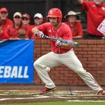Brenn Conrad lays down a bunt as the Cajuns faced off against Arizona in the second round game of the NCAA regional Tournament at Tigue Moore Field.