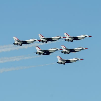 U.S. Air Force Thunderbirds fly in formation during