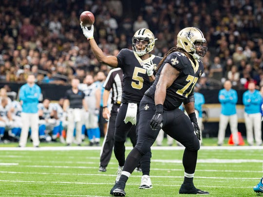 Saints quarterback Teddy Bridgewater throws a pass during the NFL football game between the New Orleans Saints and the Carolina Panthers in the Mecedes-Benz Superdome. Sunday, Dec. 30, 2018.