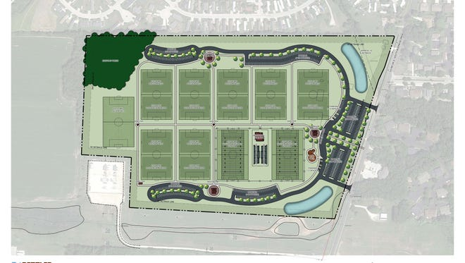 A rendering of how soccer and football fields could be laid out someday at the city's Butzen Farm property on Sheboygan's far south side.