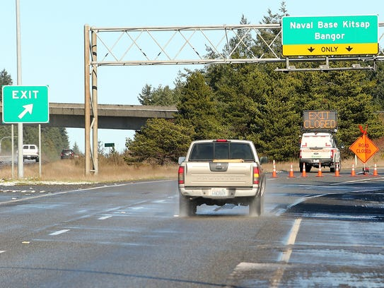 The Highway 308 exit from Highway 305 was blocked while authorities responded to a bomb scare at Naval Base Kitsap Bangor on Thursday.