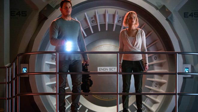 Red alert on the Avalon for Jim (Chris Pratt) and Aurora (Jennifer Lawrence) in Columbia Pictures' 'Passengers.'