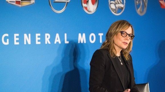 GM CEO Mary Barra speaks to reporters at a press conference in Detroit on Jan. 10.