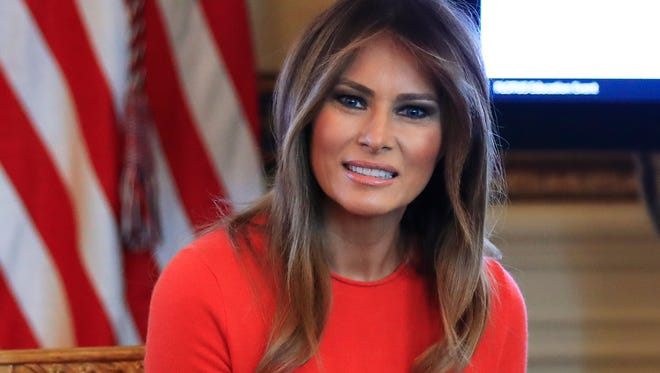 Melania Trump spoke during a discussion with students on issues they are facing in Washington.