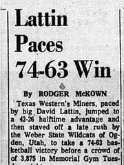 Game story for the Dec. 14, 1965 game between Texas Western College and Weber State .