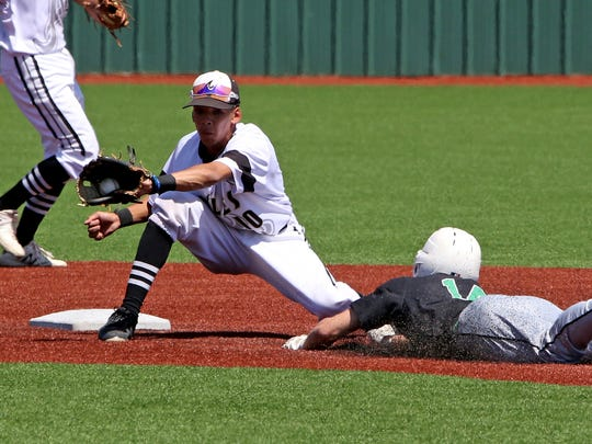 Abilene High's Marcus Romero catches Arlington's Zach Fulton stealing Saturday, May 5, 2018, in Game 2 of the Region I-6A bi-district playoff series at Hoskins Field in Wichita Falls. The Eagles defeated the Colts 5-3 to advance to the area round.
