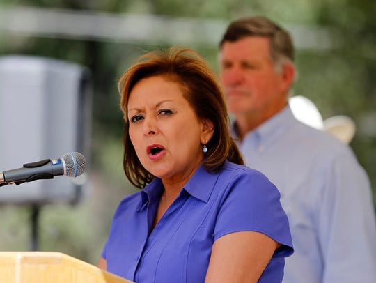 New Mexico Governor Susana Martinez speaks, Saturday,