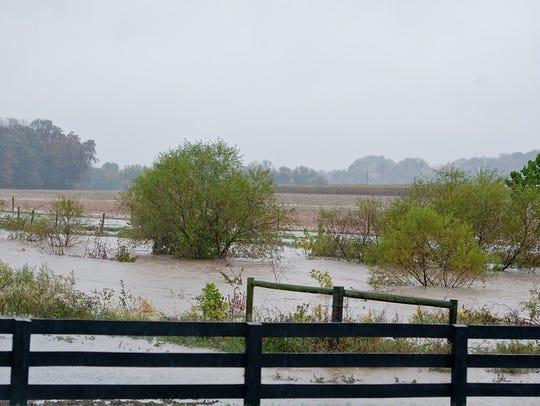 Farmland along Gitts Run Road is seen flooded after heavy rain in Oct. 2013.