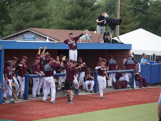The Missouri State dugout erupts after Justin Paulsen's sixth-inning home run put Friday's game out of reach.