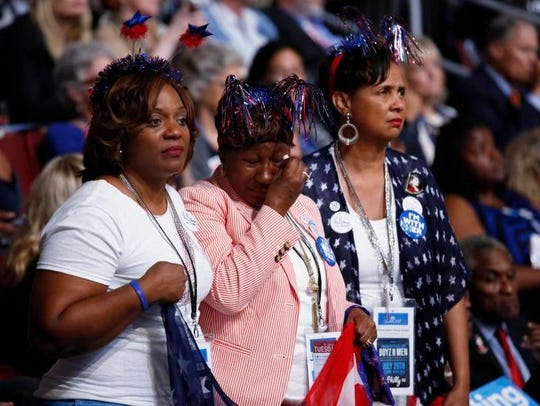 Alabama delegates listen to the Mothers of the Movement