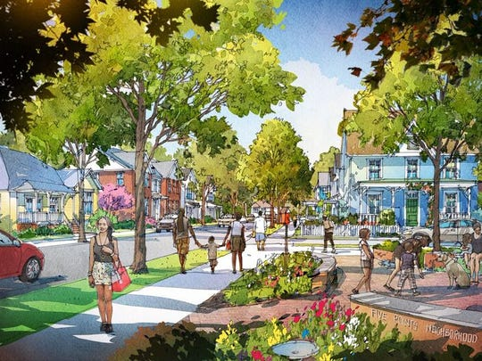 This streetscape rendering illustrates the proposed Phase 3 of KCDC's Five Points redevelopment project.