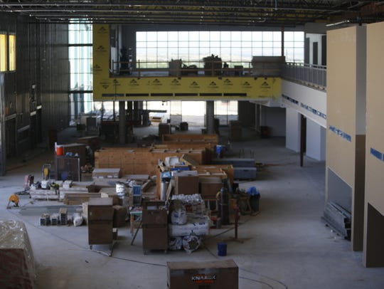 A view of the hall in the new main building at Farmington
