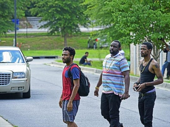 """Donald Glover as Earnest (Earn) Marks, Brian Tyree Henry as Alfred (Paper Boi) Miles, Lakeith Stanfield as Darius in  FX's """"Atlanta."""""""