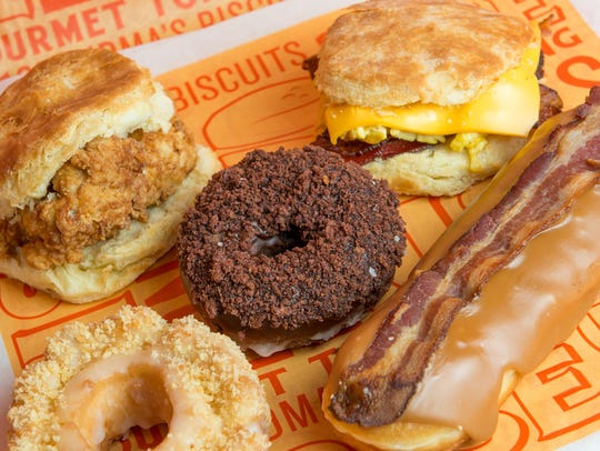 Some of the options at Rise Biscuits, Donuts & Righteous Chicken in Saddle Creek.