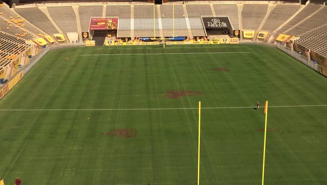 Sparky will be the midfield logo at Sun Devil Stadium.