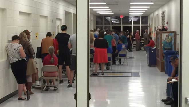 Mesita Elementary School was one of several sites that saw a large voter turnout — and long lines — during Tuesday's primary election.