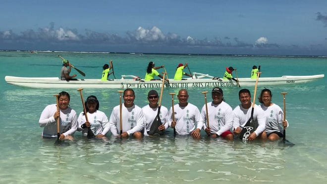 Paddlers from the Hagga Outrigger Kanoe Club.