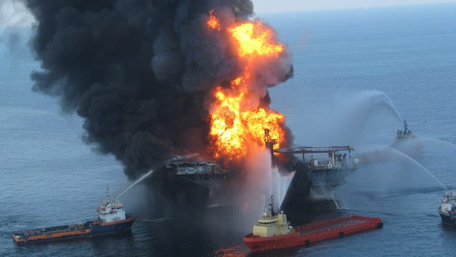 Fire boat crews battle the blazing remnants of Deepwater Horizon on April 21, 2010.