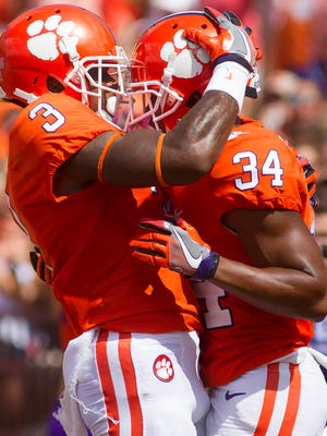 Clemson Tigers wide receiver Artavis Scott (3) and wide receiver Ray-Ray McCloud.