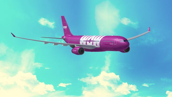 A rendering of an Airbus A330 in the colors of WOW Air.