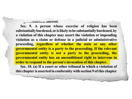 A highlighted part of Section 9 of the Indiana Religious Freedom Restoration Act.