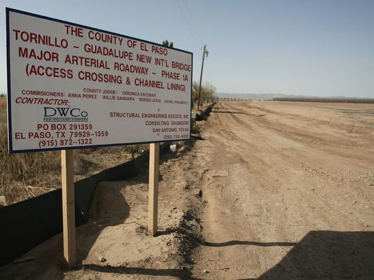 File photo: The sign marks the location of the new roadway which will lead to the new Tornillo U.S. port-of-entry.