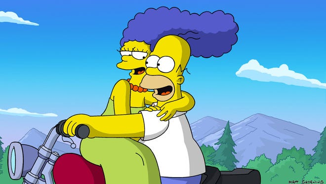 """""""Oh Homie!"""" Cartoon couple Marge and Homer Simpson on """"The Simpsons"""" might not be perfect, but they're perfect for each other."""