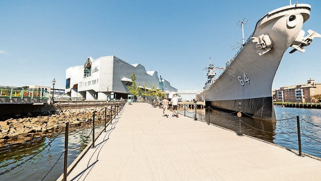 The Battleship Wisconsin is anchored along the water in downtown Norfolk and is open for tours.