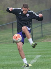 Louisville City Football Club forward Chandler Hoffman, during a practice. 