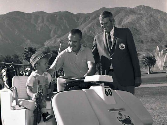 Davey Gray, age 3; Vice President-elect Spiro T. Agnew; and Canyon Country Club General Manager Jack Quigley on Dec. 4, 1968, at the Republican Governor's Convention at Canyon Country Club.