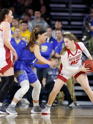SIOUX FALLS, SD - MARCH 6:  Chloe Lamb #22 of South Dakota gets a pick set for her on Rylie Cascio Jensen #2 of South Dakota State at the 2018 Summit League Basketball tournament at the Denny Sanford Premier Center in Sioux Falls. (Photo by Dick Carlson/Inertia)