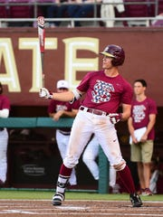 Florida State sophomore outfielder Jackson Lueck looks for a pitch during the Seminoles 5-3 victory over Pacific on Saturday night at Dick Howser Stadium.