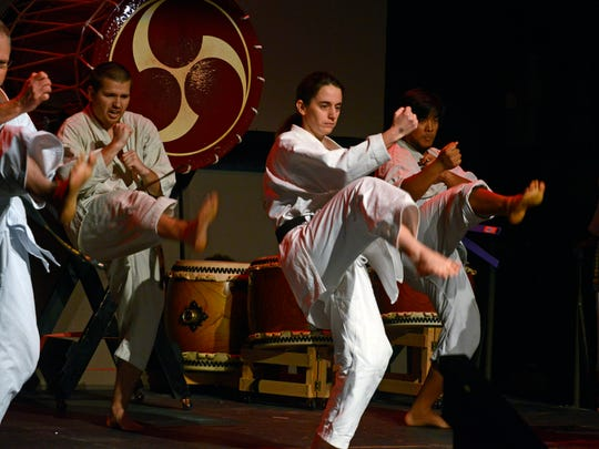Members of the JKA-WF Shotokan Karate Club, show off their skills Saturday during the Japanese New Year Celebration at the Rex Theatre.