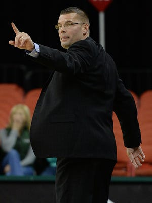 UWGB coach Brian Wardle on the sidelines against Minnesota-Duluth at the Resch Center.