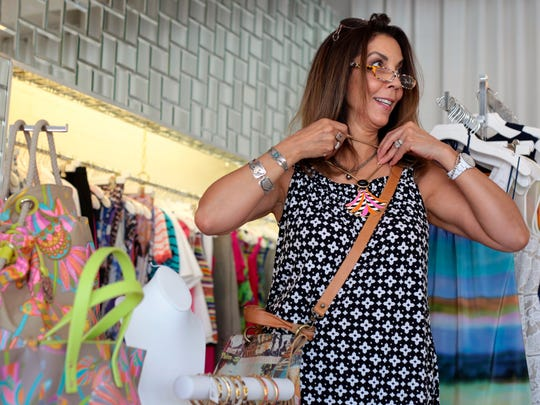 Nancy Rytel, of Portland Ore. shops at the Trina Turk Boutique in Palm Springs on May 12. The boutique first opened in 2002.