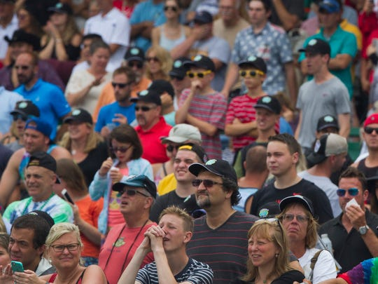 Crowds braved the rain at the 2016 Haskell Day at Monmouth Park in Oceanport, NJ on July 21, 2016
