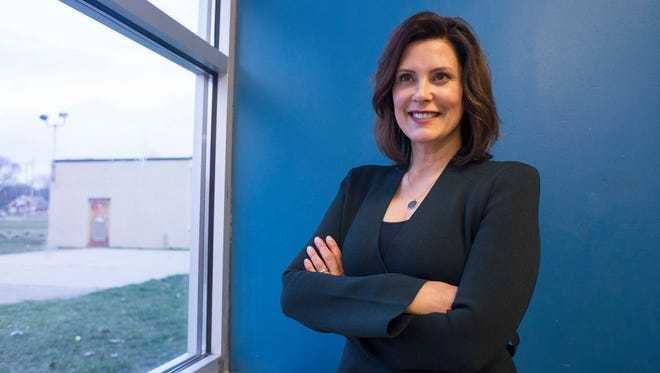 Gubernatorial candidate and democrat Gretchen Whitmer poses for a portrait after a Castle Rouge Civic Association meeting on Tuesday, April 10, 2018, at the Detroit Leadership Academy in Detroit.