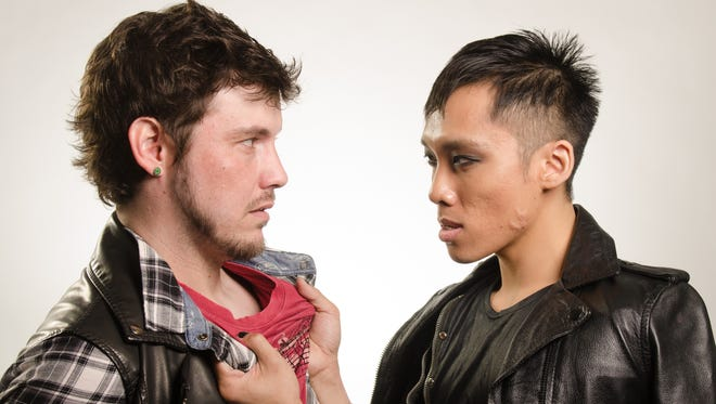"""Nicholas Gearing (left) as Johnny and Alan Khoutakoun as St. Jimmy in Stray Cat Theatre's production of """"American Idiot."""""""