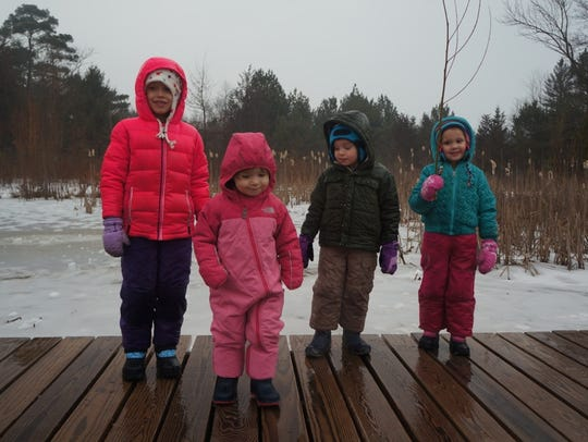 Hiking along the boardwalk at the Schlitz Audubon Nature