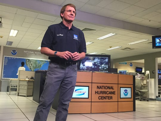Bryan Norcross working at the National Hurricane Center in Miami.